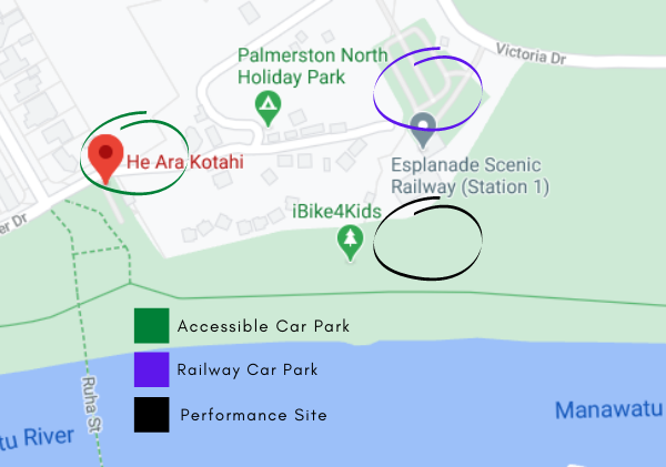Map of performance site. Accessible parking and toilets at He Ara Kotahi carpark. Backup, non-accessible, carpark at Esplanade Scenic Railway carpark. Performance site upstream of He Ara Kotahi on the grassy area between the Holiday Park boundary fence and the Manawatu River.